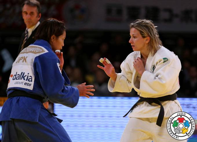 Telma Monteiro em ação na Final frente a Kaori Matsumoto