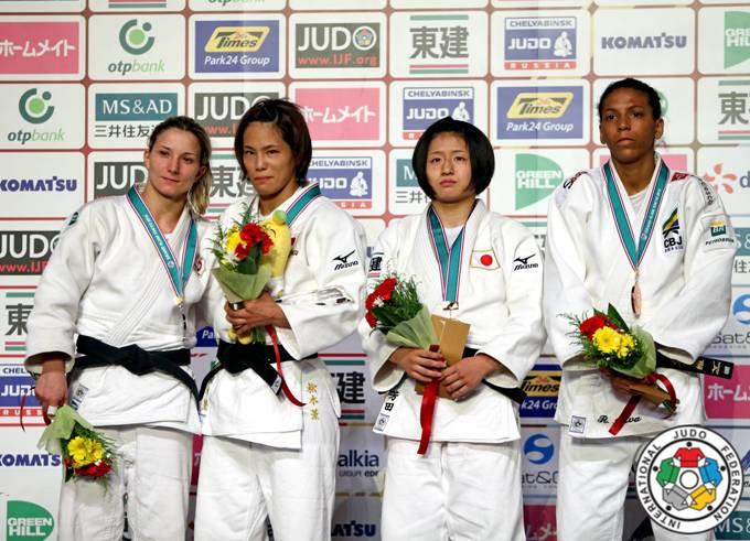 Telma Monteiro no Pódio da categoria -57 Kg do Grand Slam de Tóquio